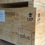 Stacked fire pit crates ready to ship to long distance destination.