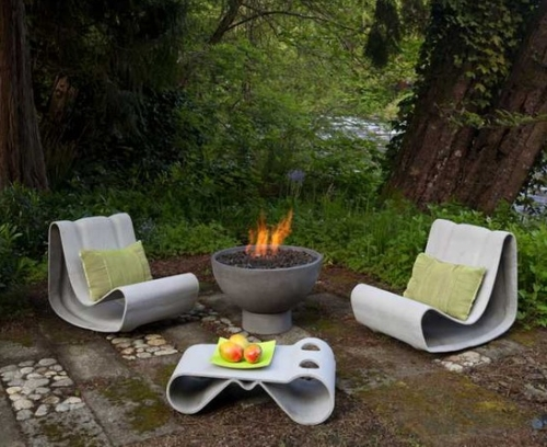 A Fire Pit Can Be Placed In The Corner Of Your Space With Chairs Or Table  Around It (26u2033 Hemi Firebowl With Plinth)
