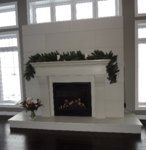"Festive Halva Cornice surround with Solus 16"" x 48"" tile in Halva and natural light."