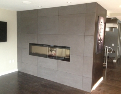 Contemporary wrapped fireplace